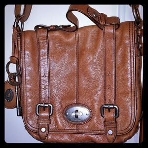 Fossil Maddox Leather Fold Over Brown Crossbody